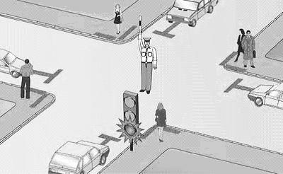 знаком аварийной остановки мигающим красным фонарем